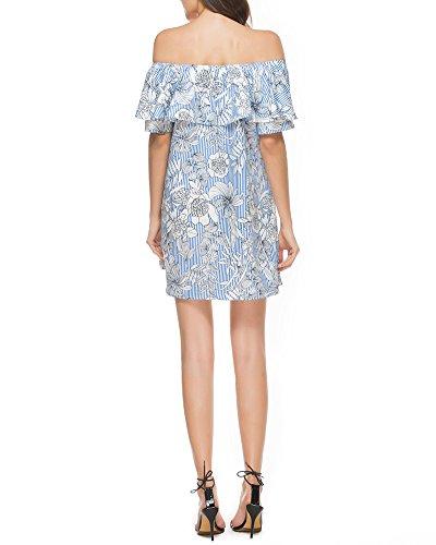 Donna Mini Senza spalline stampa Balze Maniche Abito Chiffon Dress A-Line Vestito Blu