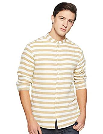 Diverse Men's Striped Slim fit Casual Shirt (DCMCF12SC11L03-279C_Olive_S)