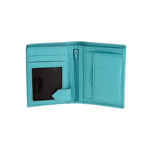 Petit Portefeuille pour Homme Vertical en Cuir Porte-Cartes Nuvola Pelle Turquoise
