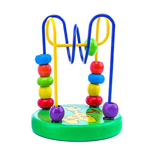 Reuvv Holzperlen Labyrinth Spielzeug Früchten Insekten Perlen Labyrinth Achterbahn Activity Bildungs Abakus Perlen Kreis Spielsachen for 3 4 5 6+ Year Old Mädchen Jungen Geschenke - 1 (Metall-achterbahn)