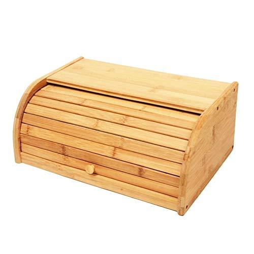 Rollbrotkasten Große Kapazität Brot Box Bambus Brot Halter, Brotkasten mit Rolldeckel, Home Küche Lebensmittel Vorratsbe hälter, halten Brot frisch, für trockene oder frische Lebensmittel - Brot Holz Halter