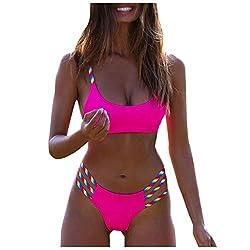 ZHANSANFM Beachwear Damen Bikini Set Vintage Regenbogen Bandage Strandmode Push-Up-BH High Waist Panty Sommer Badeanzug Bademode Badeanzüge Swimsuits Badebekleidung (M, Pink)