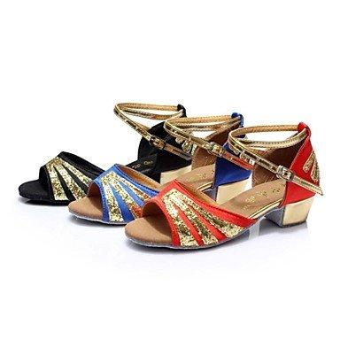 KLM donne salsa latino e sandali per bambini scarpe da ballo in raso tacco grosso fibbia (più colori) , Royal Blue , US5.5 / EU36 / UK3.5 / CN35