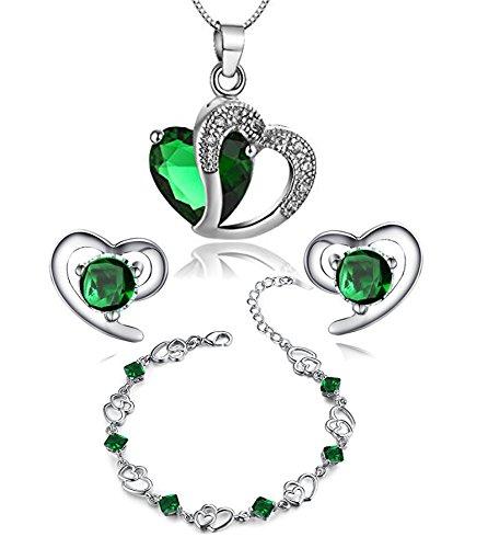 findout Amethyst rot, rosa, blau weiß Kristall-Herz Silber Anhänger Halskette + Ohrring + Armband für Frauen Mädchen. (F497) (grüne Kristall-Set) (Grün Armband)