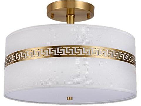 XXFFH Glühlampen Leuchtstofflampe Licht Fyn Messing Deckenleuchte Für Wohnzimmer Schlafzimmer Küche Durchmesser 40Cm Chinese Style Einfache Runde Energie-Klasse A +++ , Diameter (Runde Dekorative Jar)