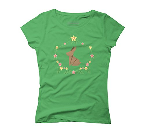 Origami Rabbit Women's Graphic T-Shirt - Design By Humans Green