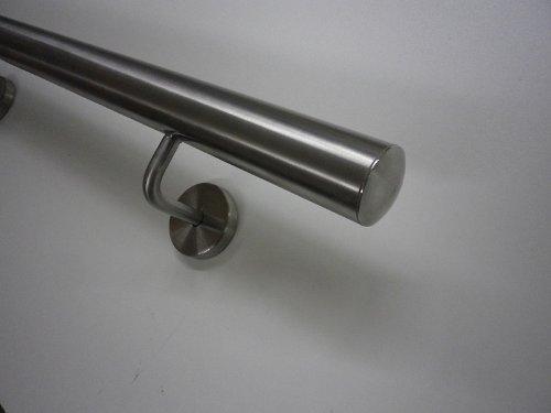 """Edelstahlhandlauf Modell """"TIBU-Line"""" Ø 33,7mm mit Halter und leicht gewölbten Endkappen in verschiedenen Längen (050cm 2 Edelstahl-Halter)"""