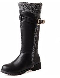 El otoño y el invierno de cabeza redonda del fondo plano en la Unión Americana y la mujer botas de nieve boot,...