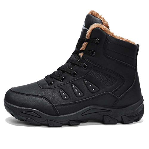 HYLFF Winter Snow Boots Wasserdichte Männer zu Fuß Wandern Pelz gefüttert Sport Outdoor-Schuhe schwarz braun,Black,42EU