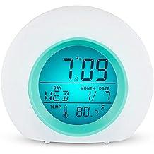 Wecker Kinder, TKSTAR LED Digital Smart Wecker Wake Up Licht Farbwechsel Lichtwecker Digital Display Modell Snooze Sensor light Alarm Clock für Erwachsene Kinder & Teenager 809N