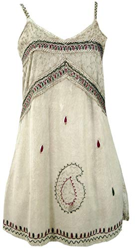 Guru-Shop Besticktes Indisches Kleid, Boho Minikleid, Beige, Damen, Design 5, Synthetisch, Size:40, Kurze Kleider Alternative Bekleidung