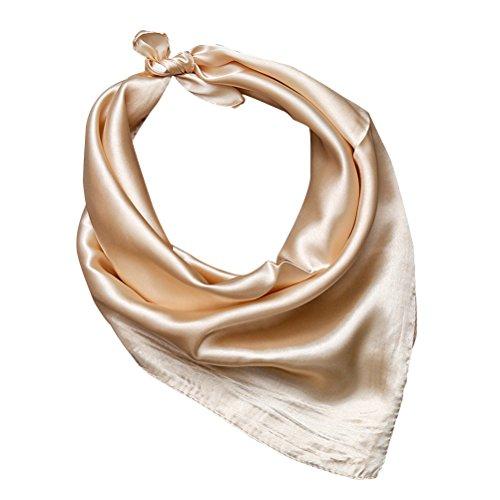 Tinksky Frauen Silk Square Schal Halstuch Kopf Schal Solid Color Soft Wrap Schal (Champagner) (Seide Kopf Binden)
