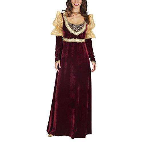 Edelfräulein Mittelalter Kostüm Damen Samt Kleid mit Spitze rot - 40/42 (Für Erwachsene Hofdame Kostüm)