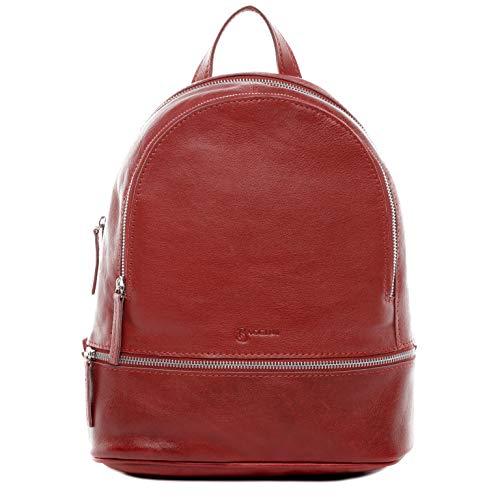 BACCINI® Zaino vera pelle DINA grande borsa a spalla borsa a zainetto backpack donna cuoio rosso
