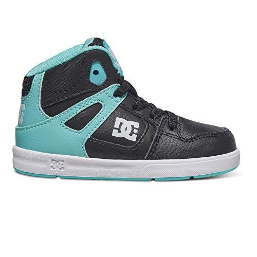 DC Shoes Rebound, Baby Mädchen Sneaker, schwarz - Noir - Black/Aqua - Größe: EU 21.5 (Baby-mädchen Baby Shoes Dc)