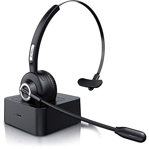 Csl - cuffie bluetooth e stazione di carica - cuffie per receptionist telefonia skype - cuffie con microfono wireless noise reduction - multipoint 2 collegamenti - call center - pc tablet smartphone