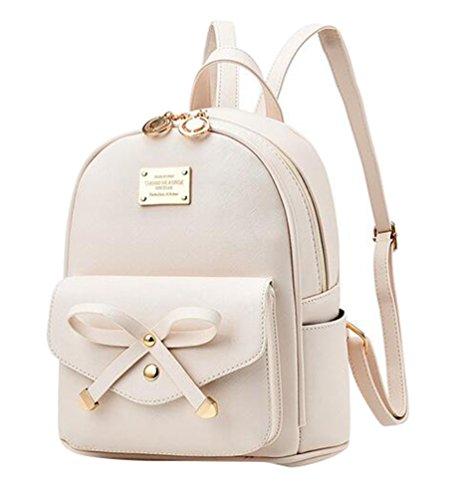 Baymate Damen Vintage PU Leder Rucksack Schultasche Daypacks Outdoor Umhängetasch Weiß (Weiße Gucci-tasche)