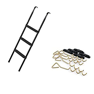Ampel 24 Der Trampolinspezialist Trampoline Ladder 110 cm with 3 Wide Steps & Ground Anchor With Adjustable Belt | for Security in Windy for Screwing Practical Entry with 3 Levels