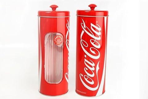 Coca Cola Retro Style Straw Dispenser Holder & 50 Straws Provided by Retro Choice