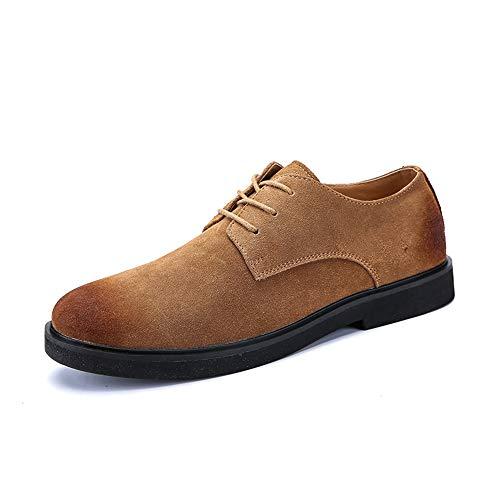 HILOTU Einfache Retro Wildleder Oxford-Schnürschuhe Lässige Bequeme Formale Anti-Slip-Schuhe (Color : Braun, Größe : 41 EU) Formale Slip