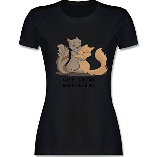 Shirtracer Sonstige Tiere - Beste Freunde - Damen T-Shirt Rundhals Schwarz