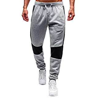 MOTOCO Men's Casual Slim Fit Elastic Drawstring Long Trackpants Jogger Trouser Sweatpants Training Pants with Zipper Pockets Wild Casual Loose Trousers(Grey-2,Grey)