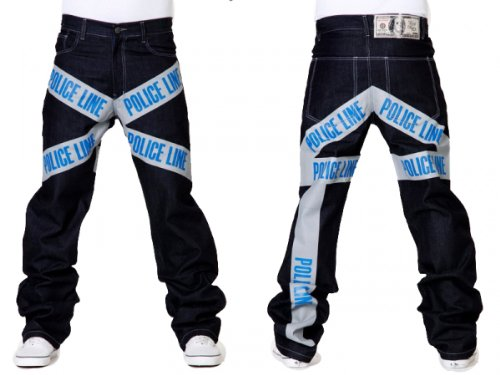 Dirty Money Police Ligne Jean Bleu - Bleu denim
