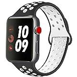 ATUP Cinturino Compatibile con Apple Watch 38mm 40mm 42mm 44mm, Cinturino in Silicone Morbido di Ricambio Compatibile con iWatch Series 1/2/3/4 (01 Black&White, 42mm/44mm-M/L)