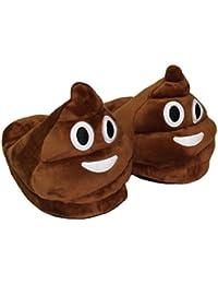 Demarkt Emoji Minions Unisex Zapatillas Invierno Casa interior slippers De Felpa Zapatos(marrón)
