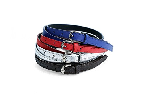 Krystle Girl|Woman Canvas/PU Leather Belts Belt Pack of 4 (Navy, Red, Silver, Brown)