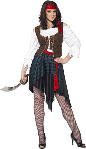 Piratin Kostüm Braun Hemd mit angesetzter Weste Rock Gürtel und Stirnband                 , XX-Large