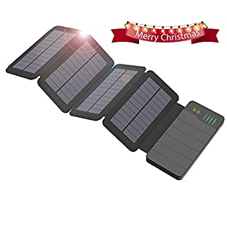 Solar Charger 10000mAh ALLPOWERS Waterproof Portable Charger Power Bank with 4 Solar Panels Foldable External Solar Battery Pack Dual USB for mobile phones, iPhoneX, 8/7plus, iPad, Samsung, All Smartphone, Outdoor Camping Travelling