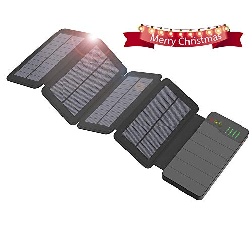 Foto ALLPOWERS 10000mAh Caricatore Solare Power Bank con 4 Pannelli Solari, Dual USB, Torcia LED Portatile Impermeabile Esterna Batteria di Backup per iPhone, Telefoni cellulari, IPad, Tablet e più