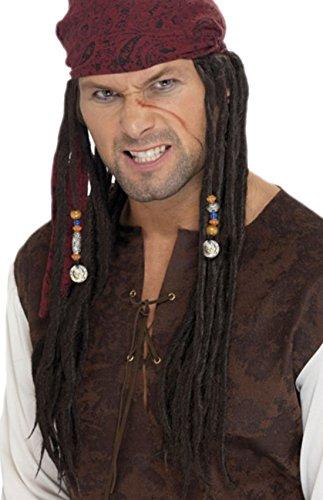 erdbeerclown - Herren Piraten Perücke mit Tuch Dreadlocks, Braun Rot