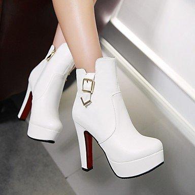 GLL&xuezi Da donna Stivaletti Stivali Stivaletti alla caviglia Anfibi Autunno Inverno Finta pelle Casual Quadrato Bianco Nero Tessuto almond 12 cm almond