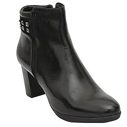 SaltnPepper15-485 RYANA BLACK 100% GENUINE LEATHER WOMEN BOOTS