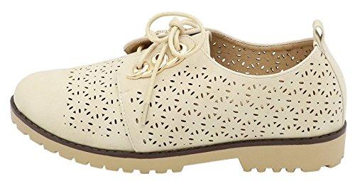 AgeeMi Shoes Damen Rund Schließen Zehe Schnüren Low Top Flach Schuhe Aprikosen Farbe