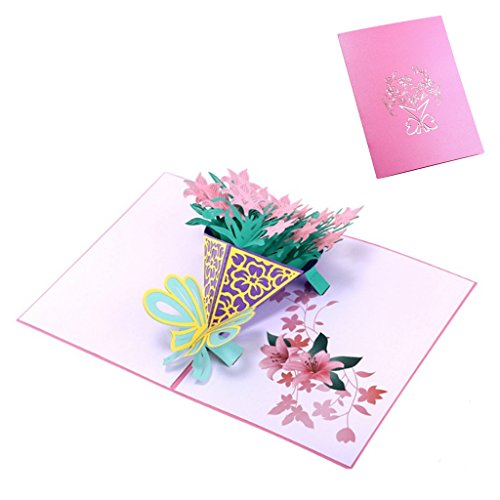 Qiuxiaoaa 3D Greeting Card, Narcissus Greeting Cards Handmade Birthday Wedding Invitation 3D Pop Up Card New,