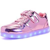 Kauson LED Scarpe Sportive per Bambini Ragazze e Ragazzi 7 Colori USB Carica Lampeggiante Luminosi Running Sneakers con Luci Traspirante Basso Ultraleggero Baskets Shoes per Natale Compleanno Regalo
