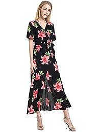STYLE Floral Vestido Largos con Abertura V-Cuello de Tirantes Manga Corta Casual
