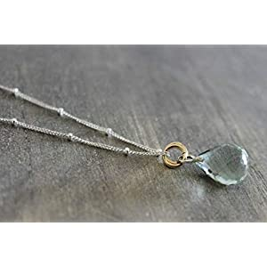Grüne Amethyst Prasiolith Edelstein Sterling Silber Halskette 46cm