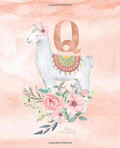 """Dotted Journal: Dotted Grid Bullet Notebook Journal Llama Alpaca Rose Gold Monogram Letter Q with Pink Flowers (7.5"""" x 9.25"""") for Women Teens Girls and Kids por Cute Little Journals"""