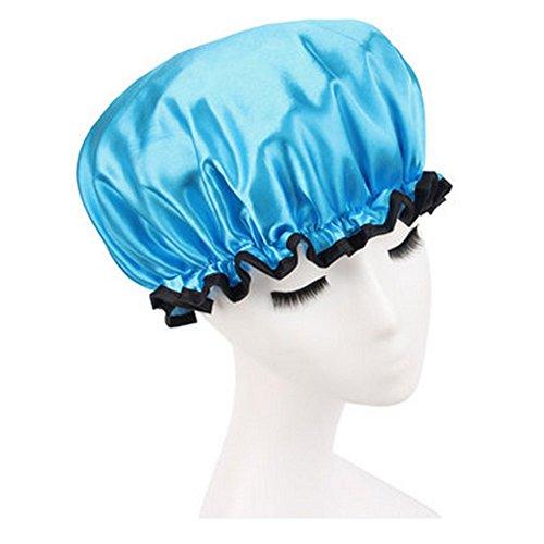 Réutilisable Bonnet de douche imperméable à l'eau Spa bonnet de bain, Bleu