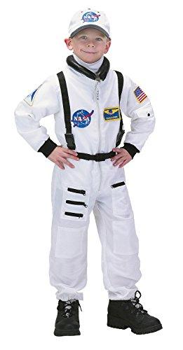 Aeromax Jr.Kostüm, mit NASA-Aufnäher und Druckknöpfen für Windelzugriff.