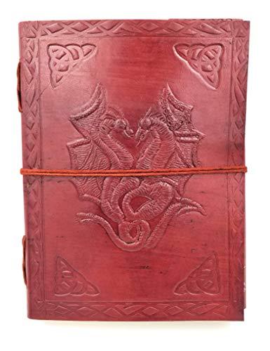 Chic & Zen–Cuaderno, bloc Note, diario, libro, piel auténtica, Vintage, Double Dragon, 15cm x 20cm