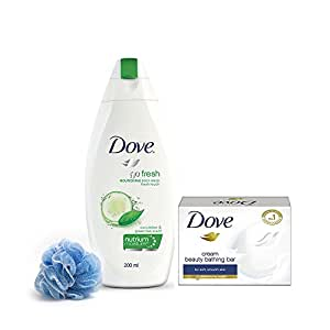 Dove Go Fresh Body Wash, 200ml and Dove Cream Beauty Bathing Soap Bar, 50g with 1 Loofah Free