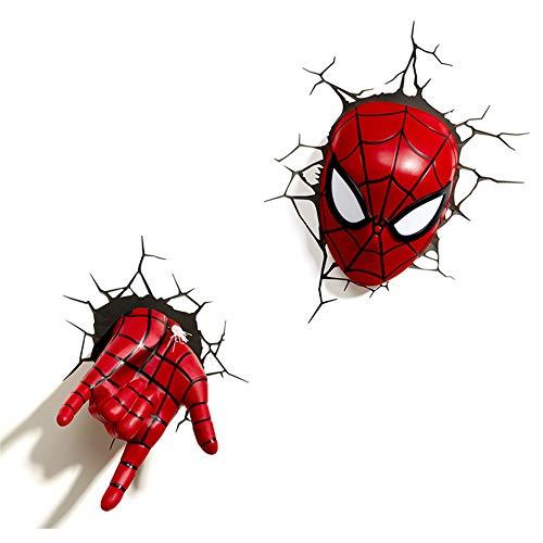 3D Licht Marvel Avengers Spiderman Nachtlicht Maske Handschuhe 3D Deko Licht Kreative Wandleuchte Schlafzimmer Kinderzimmer Nacht Nachtlicht,Set -
