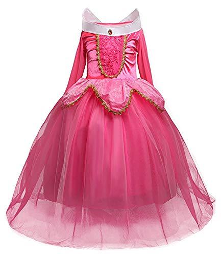 Kostüm Blau Sleeping Beauty - Monissy Mädchen Prinzessin Aurora Kleid Grimms Märchen Kleider Dornröschen Kostüm Cosplay Kostüm Set mit Zubehör Party Kostüme für Mädchen Weihnachten Fasching Halloween Gr.110-150 Rosa Blau