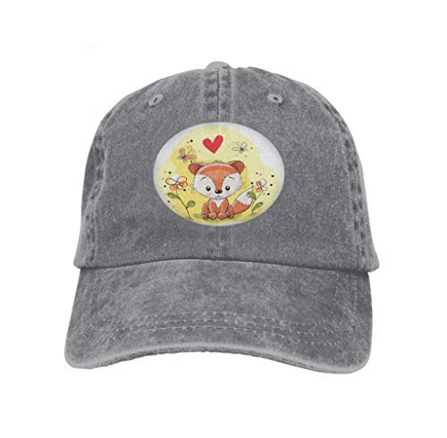 Classic Cotton Dad Hat Adjustable Plain Cap Custom Denim Baseball Cap for Adult Fox Flowers Butterflies Meadow Abstract Gray Butterfly Meadow Tiger