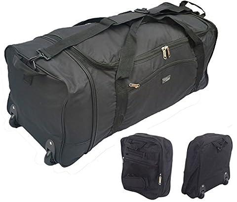 32 Inch Large Folding Wheeled Travel Sports Cargo Holdall Duffle Bag (0 Black)